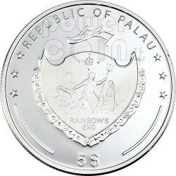SALTWATER CROCODILE Серебро Монета Swarovski 5$ Палау 2007