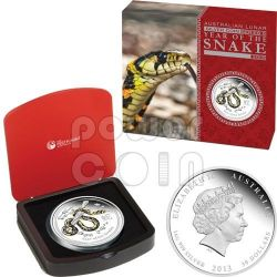 SNAKE Lunar Year Series 1 Kg Kilo Coloured Plata Proof Moneda 30$ Australia 2013