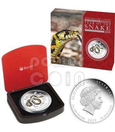 SERPENTE Snake Lunar Serie Moneta Colorata Argento Proof 1 Kg Kilo 30$ Australia 2013