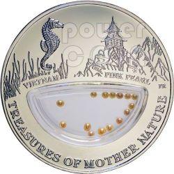 PINK PEARLS Treasures Of Mother Nature Vietnam Plata Proof Locket Moneda 1$ Fiji 2012