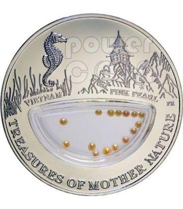 PERLE ROSA Treasures Of Mother Nature Vietnam Moneta Argento 1$ Fiji 2012