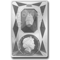 SILVER LUXURY LINE Moneta Argento Swarovski Blu 20$ 100 grammi Cook Islands 2011