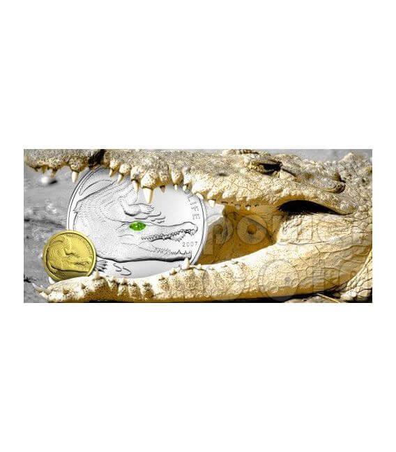COCCODRILLO SALTWATER Moneta Argento Swarovski 5$ Palau 2007