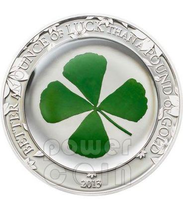 FOUR LEAF CLOVER Ounce Of Luck Silver Coin 1 Oz 5$ Palau 2013