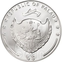 FOUR LEAF CLOVER Ounce Of Luck Silver Coin 1 Oz 5$ Palau 2013