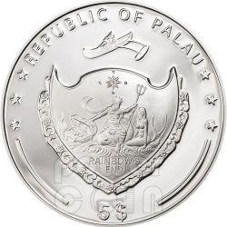 QUADRIFOGLIO PORTAFORTUNA Moneta Argento 5$ Palau 2013