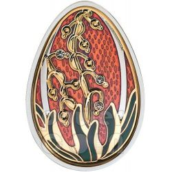 UOVA IMPERIALI BEAUTY IN RED Cloisonne Faberge Moneta Argento 5$ Cook Islands 2013