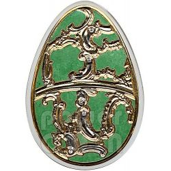 IMPERIAL EGGS OLIVE Cloisonne Faberge Silver Coin 5$ Cook Islands 2013