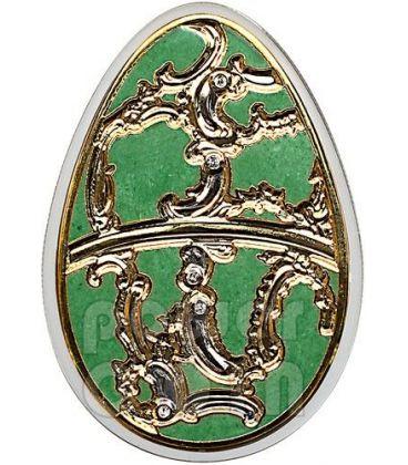 UOVA IMPERIALI OLIVA Cloisonne Faberge Moneta Argento 5$ Cook Islands 2013