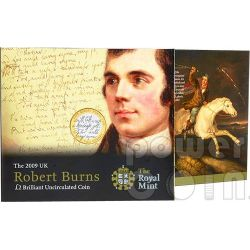 ROBERT BURNS Poeta Compositore Moneta £2 BU UK Royal Mint 2009