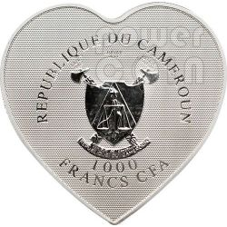 HEART OF LOVE Hologram Moneda Plata 1000 Francs Cameroon 2013