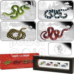 SNAKE Lunar Year Rectangle 4 Four Coin Set 1$ Cook Islands 2013