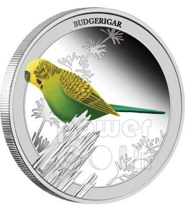 PAPPAGALLINO ONDULATO Budgerigar Birds of Australia Moneta Argento 50c Australia 2013