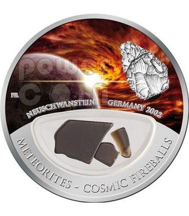 METEORITE NEUSCHWANSTEIN Cosmic Fireballs Moneta Argento 10$ Fiji 2012