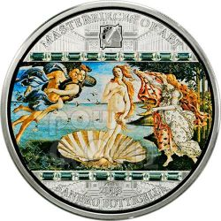 BIRTH OF VENUS Sandro Botticelli 3 Oz Moneda Plata 20$ Cook Islands 2008
