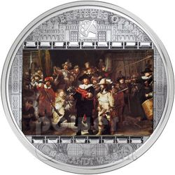 REMBRANDT Nightwatch 3 Oz Silver Coin 20$ Cook Islands 2009