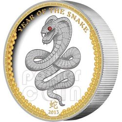 SNAKE HIGH RELIEF Chinese Lunar Year Silver Coin 5$ Palau 2013