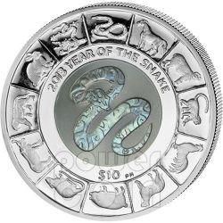 SERPENTE TITANIO Snake Anno Lunare Cinese Moneta Argento 10$ Isole Vergini Britanniche 2013