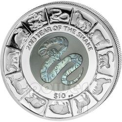 SNAKE TITANIUM Chinese Lunar Year Moneda Plata 10$ British Virgin Islands 2013