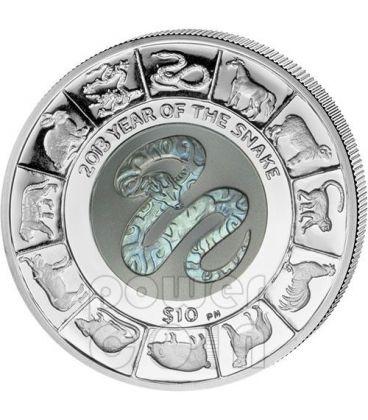 SERPENTE TITANIO Snake Anno Lunare Cinese Moneta Argento 10$ British Virgin Islands 2013