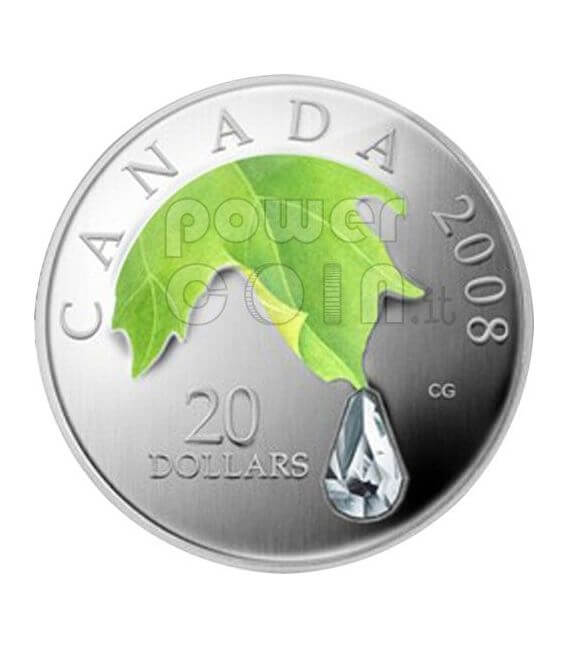 RAINDROP Crystal Swarovski Серебро Монета 20$ Канада 2008