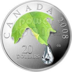 RAINDROP Crystal Swarovski Moneda Plata 20$ Canada 2008
