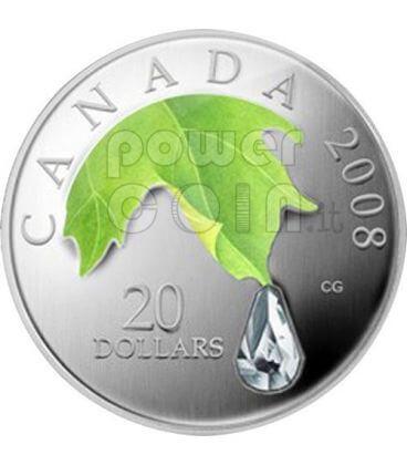 RAINDROP Crystal Swarovski Silver Coin 20$ Canada 2008