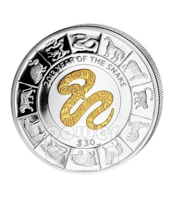 SNAKE GILDED Chinese Lunar Year 5 Oz Silber Münze 30$ British Virgin Islands 2013
