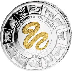 SERPENTE DORATO Snake Anno Lunare Cinese Moneta Argento 5 Oz 30$ British Virgin Islands 2013