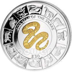 SNAKE GILDED Chinese Lunar Year 5 Oz Серебро Монета 30$ Британские Виргинские Острова 2013