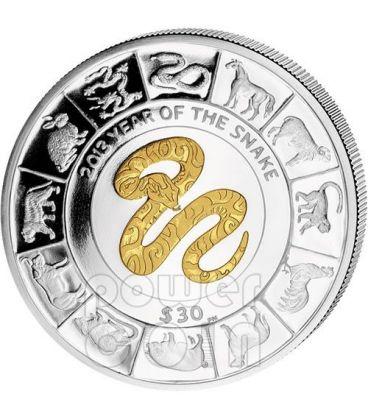 SERPENTE DORATO Snake Anno Lunare Cinese Moneta Argento 5 Oz 30$ Isole Vergini Britanniche 2013