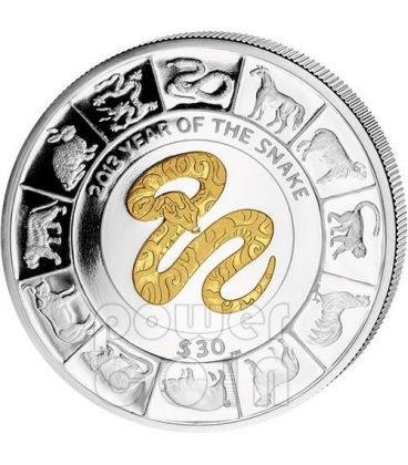 SNAKE GILDED Chinese Lunar Year 5 Oz Silver Coin 30$ British Virgin Islands 2013