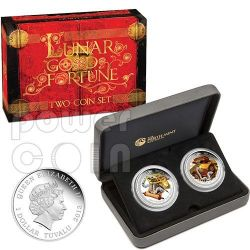 SNAKE GOOD FORTUNE Wealth Wisdom Chinese Lunar Year Two 2 Moneda Plata Set 1$ Tuvalu 2013