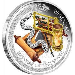 SERPENTE BUONA FORTUNA Wealth Wisdom Snake Anno Lunare 2 Monete Argento 1 Oz 1$ Tuvalu 2013