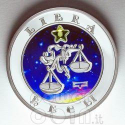 LIBRA Horoscope Zodiac Zircon Silber Münze Armenia 2008