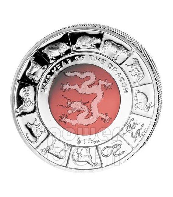 DRAGON CRYSTAL Chinese Lunar Year Silver Coin 10$ British Virgin Islands 2012