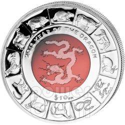 DRAGONE CRISTALLO Dragon Anno Lunare Cinese Moneta Argento 10$ Isole Vergini Britanniche 2012