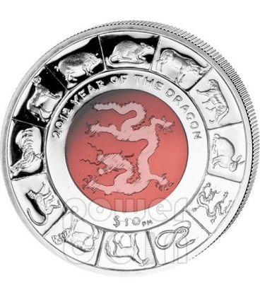 DRAGONE CRISTALLO Dragon Anno Lunare Cinese Moneta Argento 10$ British Virgin Islands 2012