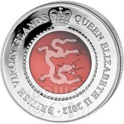 DRAGONE CRISTALLO Dragon Anno Lunare Cinese Moneta Argento 10$ British Virgin Islands 2012