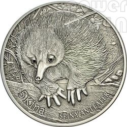 SPINY ANTEATER Wonderful Wildlife Black Diamonds Серебро Монета 5 Кина Папуа Новая Гвинея 2012