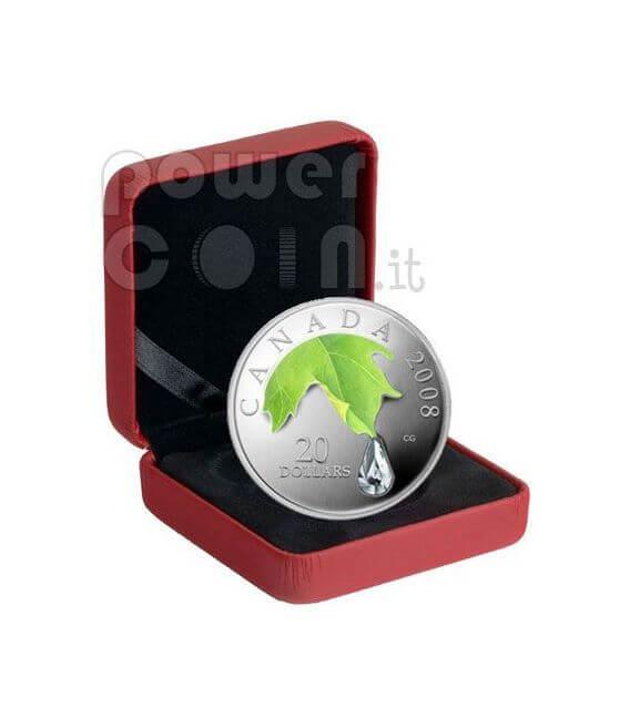 RAINDROP Goccia Di Cristallo Swarovski Moneta Argento 20$ Canada 2008
