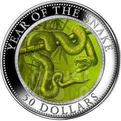 SNAKE MOTHER OF PEARL Lunar Year Series 5 Oz Silver Coin 50$ Cook Islands 2013