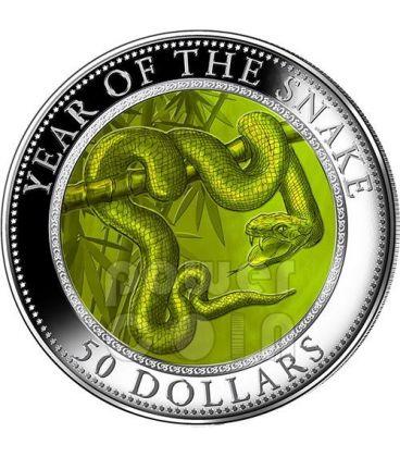 SERPENTE MADREPERLA Snake Lunar Serie Moneta Argento 5 Oz 50$ Cook Islands 2013