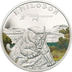 SMILODON Saber Toothed Tiger Prehistoric Animals Moneda Plata 1000 Francs Ivory Coast 2011