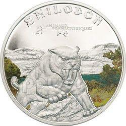 SMILODON Saber Toothed Tiger Prehistoric Animals Silber Münze 1000 Francs Ivory Coast 2011