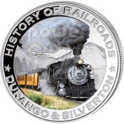 DURANGO SILVERTON США Steam Locomotive Train Серебро Монета 5$ Либерия 2011