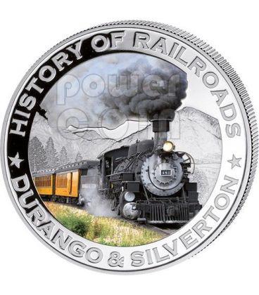 DURANGO SILVERTON USA Treno Vapore Ferrovia Moneta Argento 5$ Liberia 2011