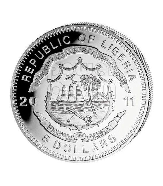DURANGO SILVERTON USA Steam Locomotive Train Silber Münze 5$ Liberia 2011