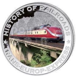 TRANS EUROP EXPRESS History Of Railroads Train Серебро Монета 5$ Либерия 2011