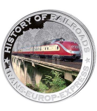 TRANS EUROP EXPRESS History Of Railroads Train Silver Coin 5$ Liberia 2011